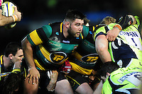 Kieran Brookes of Northampton Saints prepares to scrummage against his opposite number. Aviva Premiership match, between Northampton Saints and Sale Sharks on December 23, 2016 at Franklin's Gardens in Northampton, England. Photo by: Patrick Khachfe / JMP
