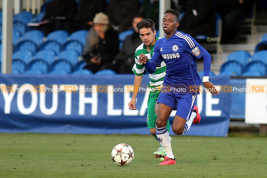 Charles Musonda of Chelsea surges forward - Chelsea Under-19 vs Sporting Lisbon Under-19 - UEFA Under-19 Champions League Football at Cobham Training Ground, Surrey - 10/12/14 - MANDATORY CREDIT: Paul Dennis/TGSPHOTO - Self billing applies where appropriate - contact@tgsphoto.co.uk - NO UNPAID USE