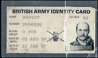 BNPS.co.uk (01202 558833)<br /> Pic: Spink&amp;Son/BNPS<br /> <br /> Warrant Officer David John Harvey's ID card.<br /> <br /> The bravery medals of a heroic SAS officer who went behind enemy lines in the Falklands War, supported missile hunting teams in Desert Storm and did multiple tours in Northern Ireland have emerged for auction and are tipped to sell for &pound;20,000.<br /> <br /> Warrant Officer David John Harvey, known to his friends as 'Dia', was awarded seven medals during his distinguished 26 year career in the army and SAS.  <br /> <br /> After 15 years in the army, he joined the SAS in August 1981 and with the advent of hostilities in the South Atlantic was deployed in a four-man patrol in the Falklands which undertook surveillance and carried out a selfless diversionary attack under heavy mortar fire at Port Stanley.<br /> <br /> In the Gulf War, he went undercover to replenish SCUD-hunting (tactical ballistic missiles) teams such as 'Bravo Two Zero'.<br /> <br /> The 66 year-old trained Oman's special forces in the 1990s and served on the security personnel of a British diplomat in Iraq at the dawn of the Iraq War in 2003 where he narrowly escaped death in a suicide bombing.<br /> <br /> WO Harvey has decided to auction his medals through London-based Spink &amp; Son, which will sell them on Wednesday.
