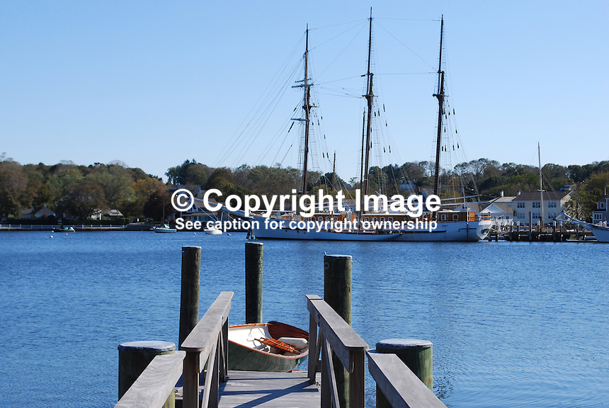 Three-masted schooner moored on the Mystic River, Mystic, Connecticut, small quaint town near the estuary. 201110175244..Copyright Image from Victor Patterson, 54 Dorchester Park, Belfast, United Kingdom, UK...For my Terms and Conditions of Use go to http://www.victorpatterson.com/Victor_Patterson/Terms_%26_Conditions.html