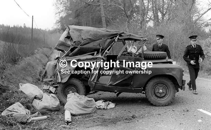 The Landrover in which one soldier, Michael Gay, 21 years, Royal Corp of Transport, from Wisbeck, Cambridgeshire, died when a Provisional IRA landmine exploded in front of the vehicle. A second solder, who escaped serious injury in the blast near Dungannon, was taken to South Tyrone Hospital, Dungannon, Co Tyrone, 16th March 1973. 197303160141<br />