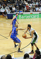 Saints guard Lindsay Tait marks Troy McLean during the national basketball league match between Wellington Saints and Manawatu Jets at TSB Bank Arena, Wellington, New Zealand on Tuesday, 7 May 2013. Photo: Dave Lintott / lintottphoto.co.nz
