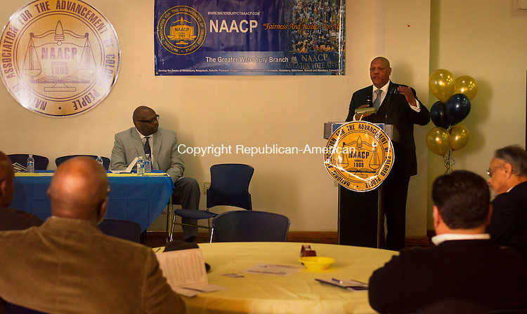 WATERBURY, CT - 21 NOVEMBER 2015 -112115JW06.jpg -- Guest Speaker President of the NAACP CT State Conference and National Board Member Scot X. Esdaile addresses the importance of the newly opened Headquarters of the Greater Waterbury Branch of the NAACP during the opening ceremonies Saturday afternoon.  Jonathan Wilcox Republican-American