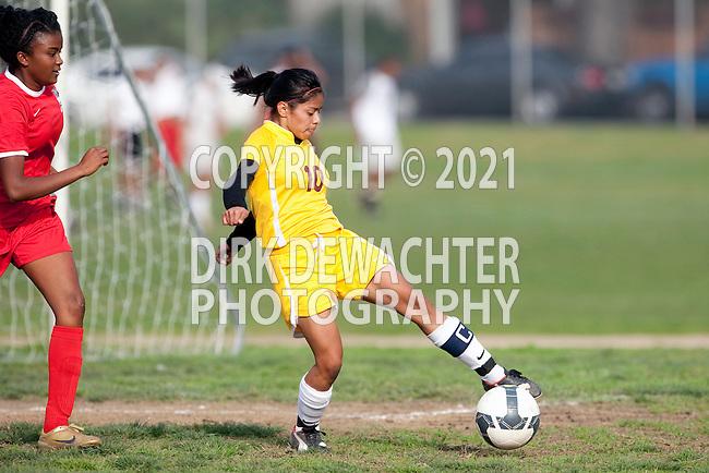 Los Angeles, CA 02/01/10 - Taryn Bishop (Westchester #15) and Jennifer Martinez (Fairfax #10) in action during the Westchester vs Fairfax Girls Varsity soccer game at Fairfax High School.