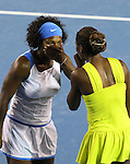 Serena and Venus Williams win the Australian Open Doubles on day 12 of the Australian Open Tennis , 30-1-09