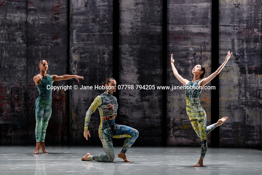 London, UK. 07.11.2019. Rambert presents RAMBERT EVENT, by Merce Cunningham, at Sadler's Wells. Choreography by Merce Cunningham, staging by Jeannie Steele, Music by Philip Selway, Quinta and Adem Ilhan, designs inspired by Gerhard Richter's 'Cage' series, performed by Rambert. The dancers are: Jacob Wye, Kym Sojourna, Guillaume Queau, Soojin Choi. Photograph © Jane Hobson.