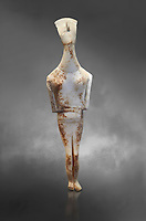Female Cycladic statue figurine with folded arms of the Spedos and Dokathismata type. Early Cycladic Period II (2800-3200) from Amorgos. National Archaeological Museum, Athens.   Gray background.<br /> <br /> <br /> This Cycladic statue figurine is of the Spedos type standing on tip tie with bended knees and arms folded under the breasts with head raiised. This staue belongs to the Dokathismata type of Amorgos with an angular face, wide chest and slender outline.