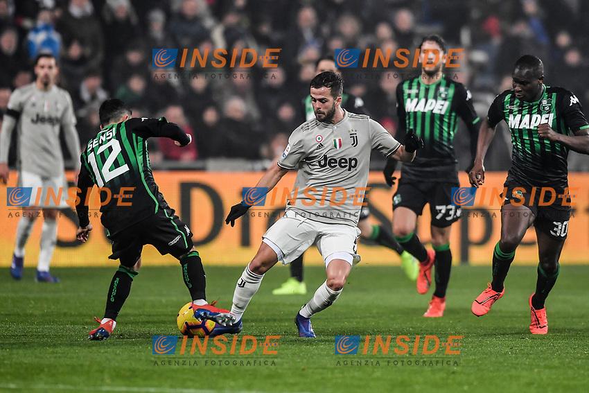 Stefano Sensi Sassuolo,  Miralem Pjanic Juventus<br /> Reggio Emilia 10-2-2019 Stadio Mapei, Football Serie A 2018/2019 Sassuolo - Juventus<br /> Foto Andrea Staccioli / Insidefoto