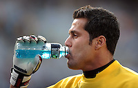 Julio Cesar of Brazil takes a drink. Brazil defeated USA 3-0 during the FIFA Confederations Cup at Loftus Versfeld Stadium in Tshwane/Pretoria, South Africa on June 18, 2009.