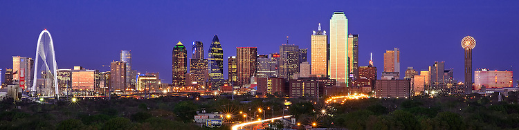 A beautiful panoramic view of the Dallas skyline at night, apart of the DFW stock photography collection with stock photos of DFW, North Texas and Downtown Dallas skyline images.