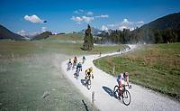 Polka Dot Jersey / KOM leader Tadej Pogačar (SVK/UAE-Emirates), yellow jersey / GC leader Primoz Roglic (SVK/Jumbo-Visma) & other GC contenders at the gravel section atop the Montée du plateau des Glières (HC/1390m)<br /> <br /> Stage 18 from Méribel to La Roche-sur-Foron (175km)<br /> <br /> 107th Tour de France 2020 (2.UWT)<br /> (the 'postponed edition' held in september)<br /> <br /> ©kramon
