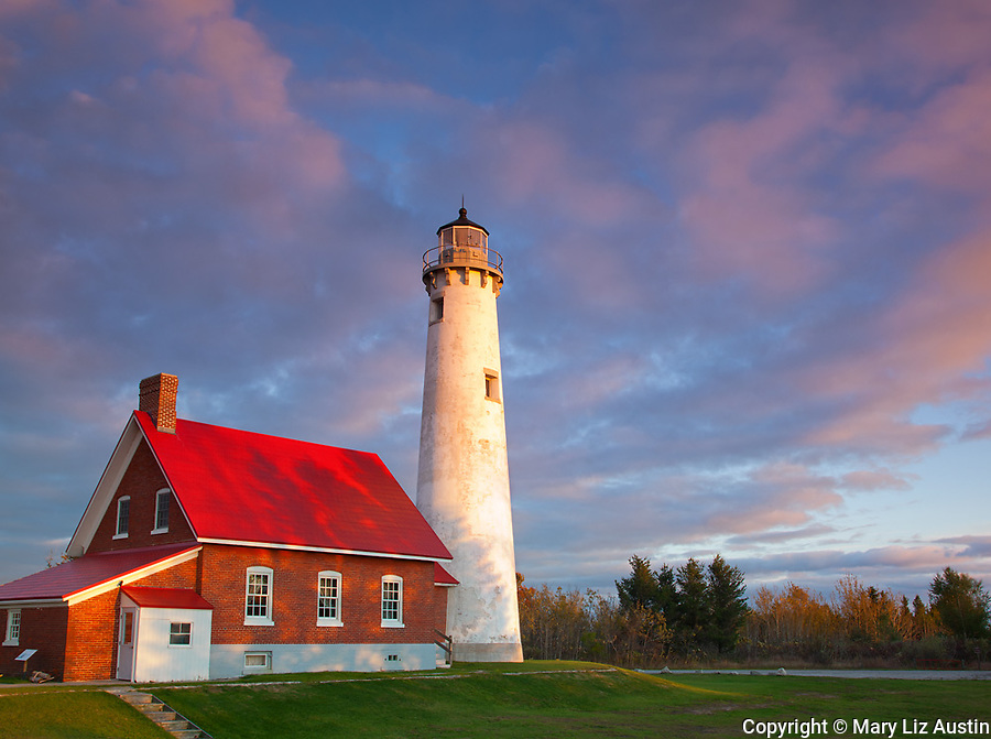Tawas Point State Park, MI:  Sunset skies over Tawas Point Light (1853) on Tawas Point at dawn, Lake Huron - Iosco County
