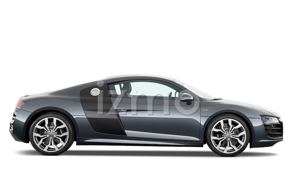 Passenger side profile view of a 2009 - 2012 Audi R8 V10 FSI Coupe.