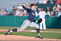 Mississippi Braves starting pitcher Patrick Weigel (18) delivers a pitch during a game against the Tennessee Smokies at Smokies Stadium on April 12, 2017 in Kodak, Tennessee. The Braves defeated the Smokies 6-2. (Tony Farlow/Four Seam Images)