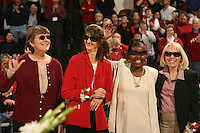 25 February 2007: Parents Kristen Newlin, Brooke Smith, Markisha Coleman, and Clare Bodensteiner on Senior Day during Stanford's 56-53 win over USC at Maples Pavilion in Stanford, CA.