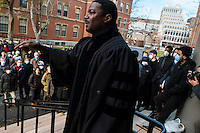 Dr. Jonathan L. Walton, Professor of Religion and Society at Harvard Divinity school and Plummer Professor of Christian Morals and Pusey Minister in Harvard&rsquo;s Memorial Church, addressed gathered students before a die-in protest in Harvard Yard, Cambridge, Massachusetts, USA.<br /> <br /> Harvard students and community members gather for a &quot;die-in&quot; protest outside of Memorial Church in Harvard Yard in Cambridge, Massachusetts, USA. Many protestors wore face masks with the phrase &quot;I can't breathe,&quot; a reference to the last words of Eric Garner, a young black man who was killed by a police officer in New York City. The protest was meant to draw attention to the Garner's death and other recent police killings of black men, including the death of Michael Brown in Ferguson, Missouri.