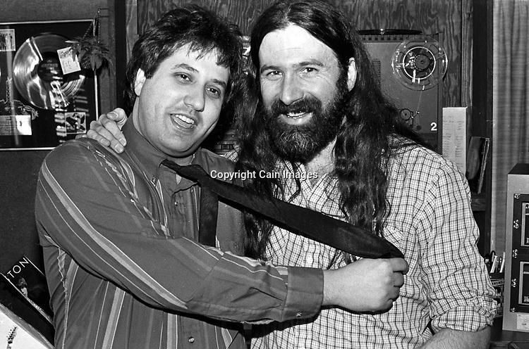 Joe Bonadonna & Pierre Robert @ WMMR circa 1985 in Philadelphia, Pennsylvania. -- (Photo by William Thomas Cain/Cain Images for WMMR).