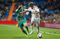 Real Madrid´s Fabio Coentrao (R) and Cornella´s Pelegri during Spanish King Cup match between Real Madrid and Cornella at Santiago Bernabeu stadium in Madrid, Spain.December 2, 2014. (NortePhoto/ALTERPHOTOS/Victor Blanco)