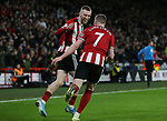 Oli McBurnie of Sheffield Utd and John Lundstram of Sheffield Utd  celebrate McBurnie's Goal during the Premier League match at Bramall Lane, Sheffield. Picture date: 10th January 2020. Picture credit should read: Chloe Hudson/Sportimage