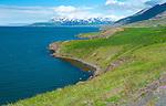 June 2016 - Akureyri, North Iceland -  Scenic coastline leading to Grenivik, North Iceland.