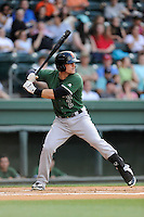 Shortstop Jeremy Sy (2) of the Augusta GreenJackets bats in a game against the Greenville Drive on Thursday, June 11, 2015, at Fluor Field at the West End in Greenville, South Carolina. Greenville won, 10-1. (Tom Priddy/Four Seam Images)