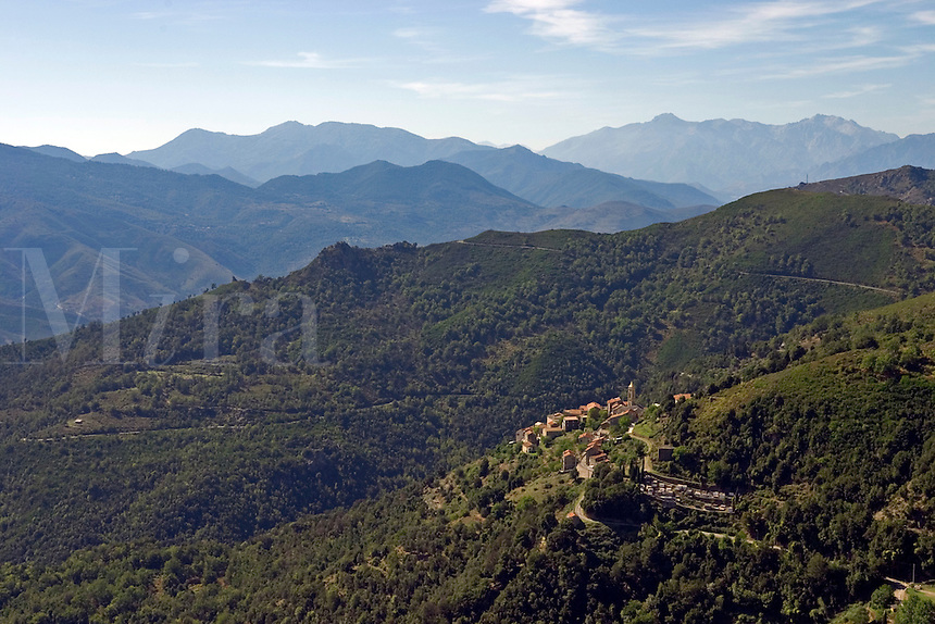 Corsica. Lento village on the Castagniccia Nebbio border. Mont San Petrone.   France..