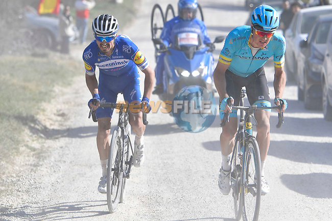 Jakob Fuglsang (DEN) Astana Pro Team and Julian Alaphilippe (FRA) Deceuninck-Quick Step battle it out on sector 11 Le Tolfe of Strade Bianche 2019 running 14km from Siena to Siena, held over the white gravel roads of Tuscany, Italy. 9th March 2019.<br /> Picture: Eoin Clarke | Cyclefile<br /> <br /> <br /> All photos usage must carry mandatory copyright credit (© Cyclefile | Eoin Clarke)