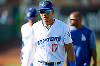 Romer Cuadrado (17) of the Ogden Raptors before the game against the Orem Owlz in Pioneer League action at Lindquist Field on June 21, 2017 in Ogden, Utah. The Owlz defeated the Raptors 16-5. This was Opening Night at home for the Raptors.  (Stephen Smith/Four Seam Images)
