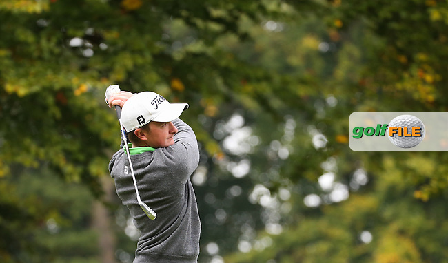 Paul Dunne (IRL) in action from the 12th tee during the Final Round of the British Masters 2015 supported by SkySports played on the Marquess Course at Woburn Golf Club, Little Brickhill, Milton Keynes, England.  11/10/2015. Picture: Golffile | David Lloyd<br /> <br /> All photos usage must carry mandatory copyright credit (&copy; Golffile | David Lloyd)