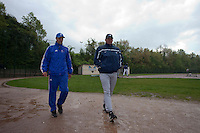 29 April 2009: Former MLB pitcher Bruce Hurst is seen talking to Team France manager Sylvain Virey during the first of six 2009 MLB European Academy Try-out Sessions throughout Europe, at Stade Pierre Rolland, in Rouen, France. Try-out sessions are run by members of the Major League Baseball Scouting Bureau with assistance from MLBI staff.