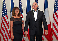 United States Vice President Mike Pence and Mrs. Karen Pence arrives for the State Dinner honoring Dinner honoring President Emmanuel Macron of the French Republic and Mrs. Brigitte Macron at the White House in Washington, DC on Tuesday, April 24, 2018.<br /> Credit: Ron Sachs / CNP /MediaPunch