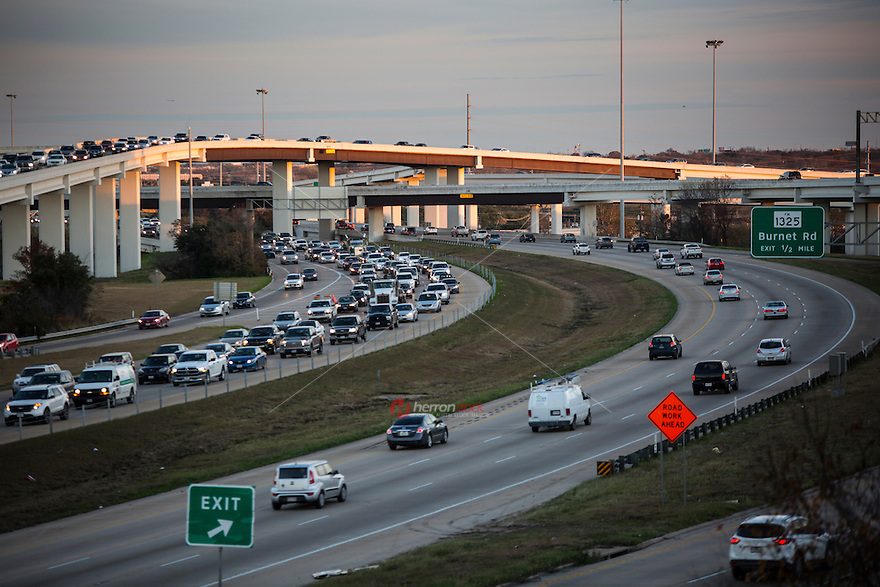 "Evening commuter traffic fills the ""Spaghetti Highway"" Mopac exchange in northwest Austin, connects Highway 183, Mopac Loop 1 and Loop 360, the Capital of Texas Highway."