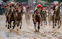 LOUISVILLE, KY - MAY 05: Abel Tasman #13, ridden by Mike Smith, winning the Kentucky Oaks on Kentucky Oaks Day at Churchill Downs on May 5, 2017 in Louisville, Kentucky. (Photo by Douglas DeFelice/Eclipse Sportswire/Getty Images)
