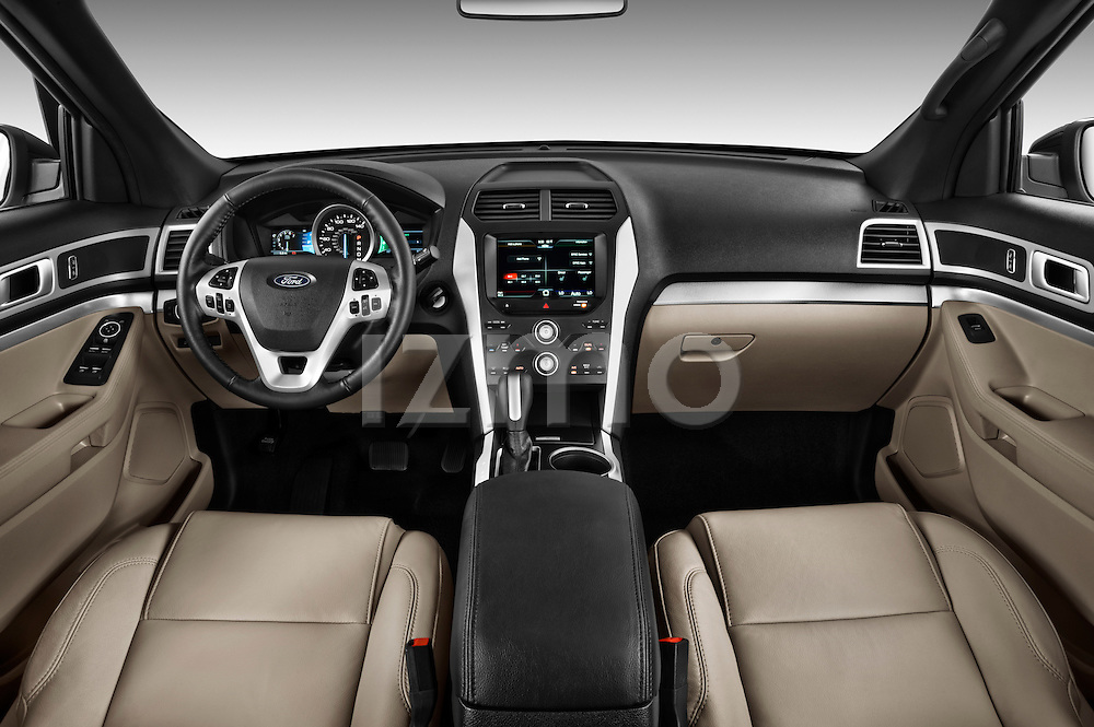 Straight dashboard view of a 2011 Ford Explorer XLT .