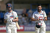 Ryan ten Doeschate (L) and Ravi Bopara of Essex leave the field at the first meal break Essex during Essex CCC vs Somerset CCC, Specsavers County Championship Division 1 Cricket at The Cloudfm County Ground on 26th June 2018