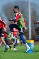 SWANSEA, WALES - FEBRUARY 17: Neil Taylor in action during a training session at the Fairwood training ground on February 17, 2015 in Swansea, Wales.  (Photo by Athena Pictures )