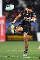 Mason Lino kicks ahead.<br /> NRL Premiership rugby league. Vodafone Warriors v St George Illawarra. Mt Smart Stadium, Auckland, New Zealand. Friday 20 April 2018. &copy; Copyright photo: Andrew Cornaga / www.Photosport.nz
