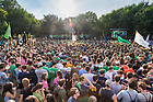 August 31, 2018;  Pep rally on South Quad before the Michigan game.  (Photo by Barbara Johnston/University of Notre Dame)