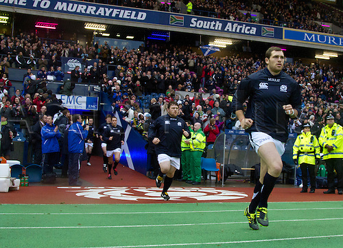 20.11.2010 International Rugby Union from Murrayfield Scotland v South Africa. Scotlands team leave the dressing room for the start of the game