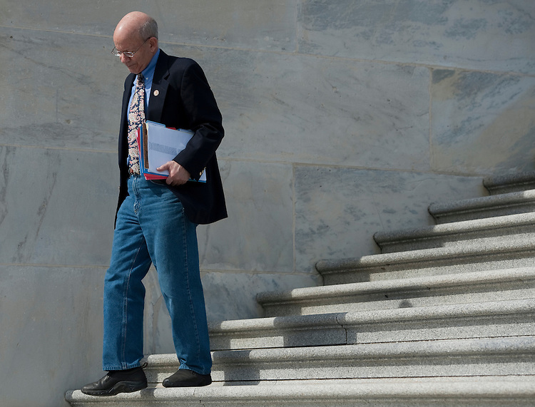 UNITED STATES  MARCH 8: Rep. Peter DeFazio, D-Ore., walks down the House steps following the final vote of the week on Thursday, March 8, 2012. (Photo By Bill Clark/CQ Roll Call)