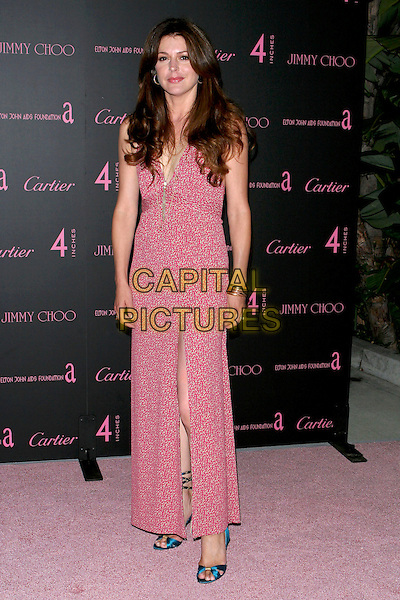 """JANE LEEVES.""""4 Inches - A project for women, about women, by women"""" Book Launch and photographic auction to benefit the Elton John Aids Foundation held at Morton's, West Hollywood, CA, USA, .21 June 2005..full length red pink dress patterned print slit split.Ref: ADM.www.capitalpictures.com.sales@capitalpictures.com.©Jacqui Wong/AdMedia/Capital Pictures."""