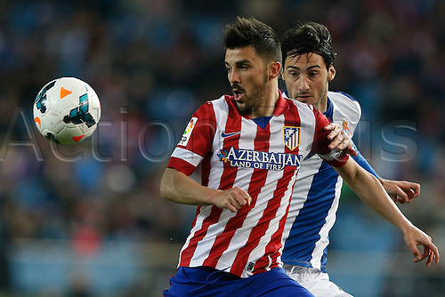 15.03.2014. Madrid, Spain. La Liga football. Atletico Madrid versus Espanyol at Vicente Calderon stadium.  David Villa Sanchez (Spanish striker of At. Madrid)