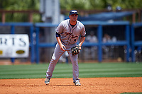 Lakeland Flying Tigers third baseman Joey Pankake (9) during a game against the Charlotte Stone Crabs on April 16, 2017 at Charlotte Sports Park in Port Charlotte, Florida.  Lakeland defeated Charlotte 4-2.  (Mike Janes/Four Seam Images)