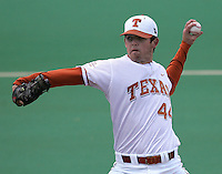 Texas Longhorns P Austin Wood during the 2008 season. Photo by Andrew Woolley / Four Seam Images.
