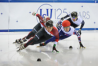 SHORT TRACK: TORINO: 14-01-2017, Palavela, ISU European Short Track Speed Skating Championships, Final B 500m Men, Shaoang Liu (HUN), Semen Elistratov (RUS), ©photo Martin de Jong