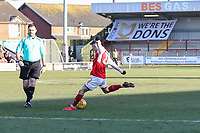 Ashley Hunter of Fleetwood Town scores his team's first goal of the game to make the score 1-1 during the Sky Bet League 1 match between Fleetwood Town and MK Dons at Highbury Stadium, Fleetwood, England on 24 February 2018. Photo by David Horn / PRiME Media Images