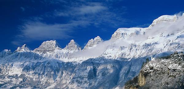 Flumser Castle and Churfirsten Mountains, Flums, Switzerland, Europe