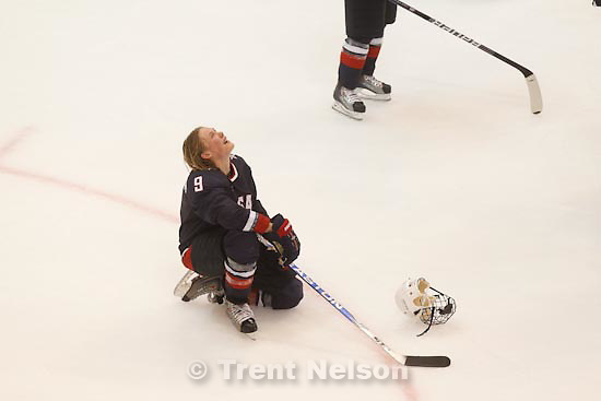 Trent Nelson  |  The Salt Lake Tribune.USA's Molly Engstrom mourns after the loss. Canada defeats Team USA in the gold medal game, women's Ice Hockey at the Canada Hockey Place, Vancouver, XXI Olympic Winter Games, Thursday, February 25, 2010.