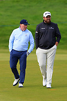 Gerry McManus (AM) and Shane Lowry (IRL) on the 4th fairway during Round 2 of the Alfred Dunhill Links Championship 2019 at Kingbarns Golf CLub, Fife, Scotland. 27/09/2019.<br /> Picture Thos Caffrey / Golffile.ie<br /> <br /> All photo usage must carry mandatory copyright credit (© Golffile | Thos Caffrey)