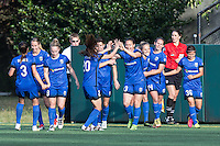 Seattle, WA - Saturday July 16, 2016: Manon Melis celebrates scoring during a regular season National Women's Soccer League (NWSL) match between the Seattle Reign FC and the Western New York Flash at Memorial Stadium.